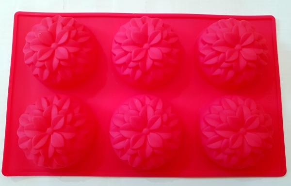 Силиконовая форма для выпечки цветы 6 Гл. 4 см. Дл 28 см. Шир. 17 см. диам. ячеек 7 см.