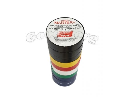 Изолента ПВХ Master+ цветная 11м. (в пачке 10шт. продажа пачкой)