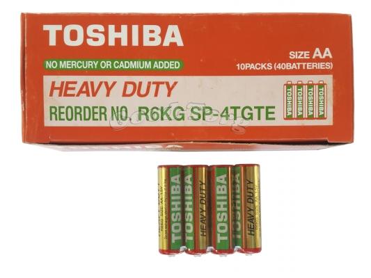 Батарейка Toshiba, AA R6, палец, 40 шт.