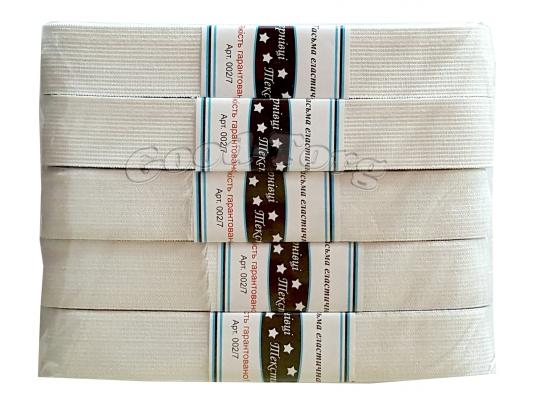 Резинка широкая белая Тасьма 5 метров.:3см (5 резинок )( продажа упаковкой )