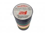 Изолента ПВХ Master+ цветная 25м. (в пачке 10шт. продажа пачкой)