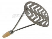 Толкушка для картофеля, овальная лакированная, деревянная ручка, 260 мм.