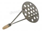 Толкушка для картофеля, круглая лакированная, деревянная ручка, 270 мм.