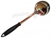Кухонный набор половник с черной ручкой. дл 33см. D 9.5см